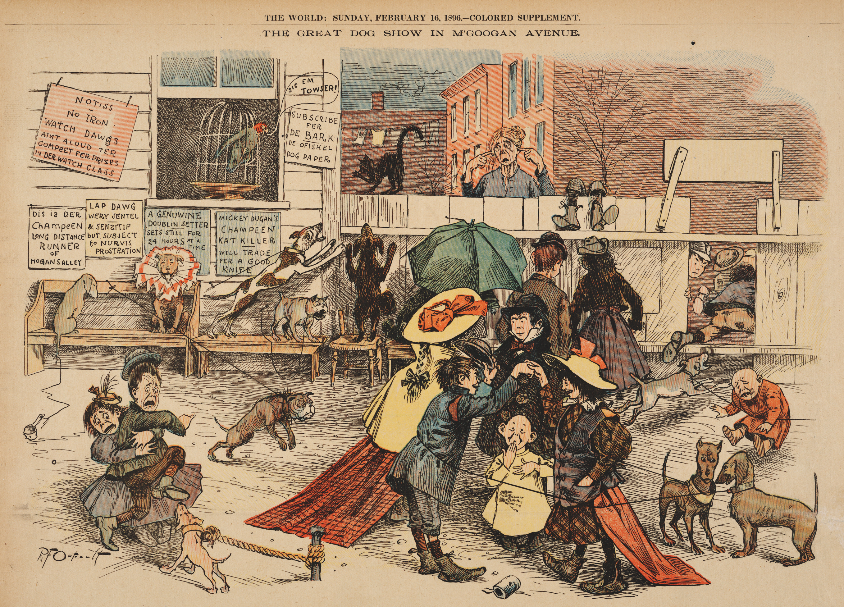 February 16, 1896. The Great Dog Show in M'Googan Avenue New York World
