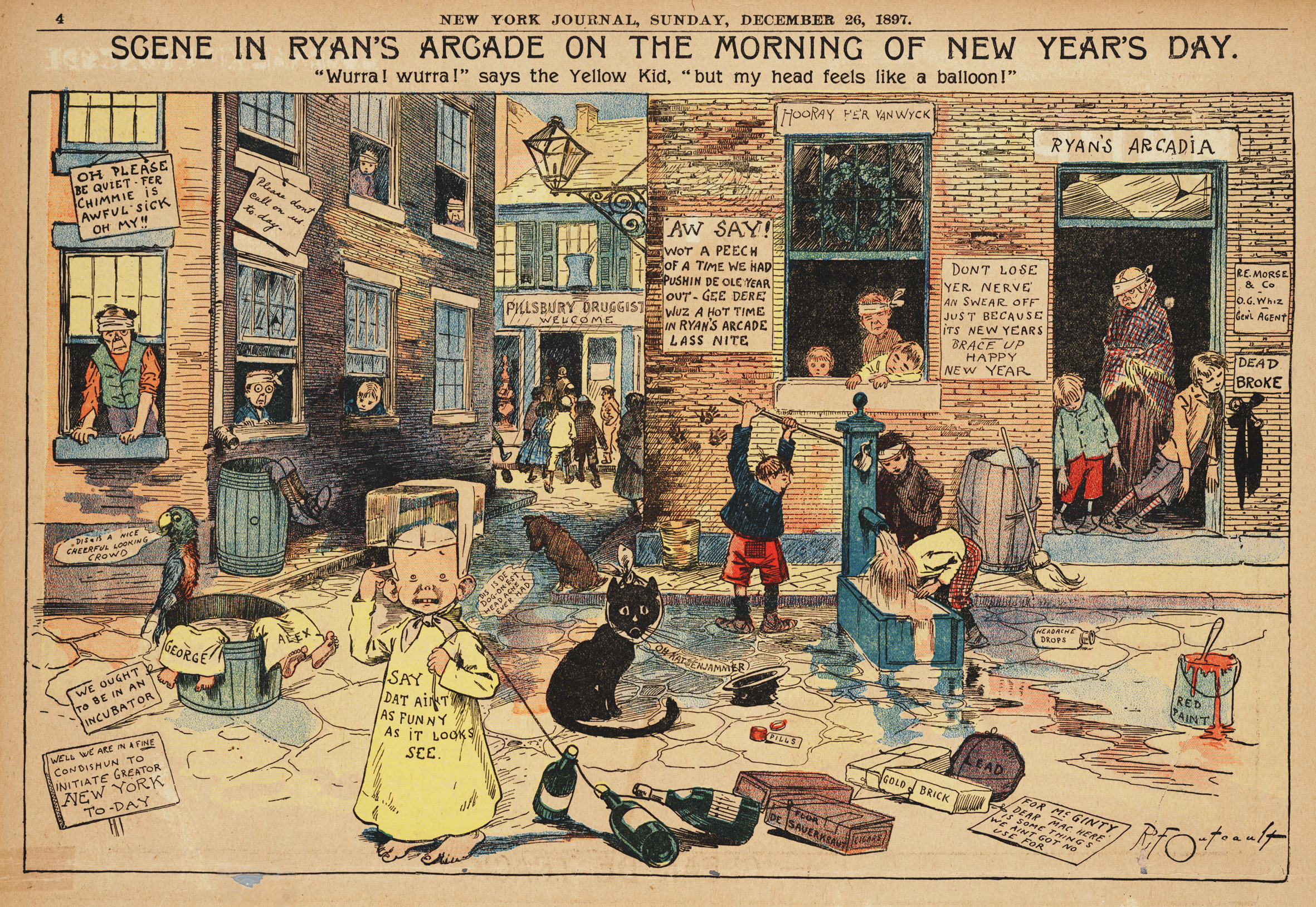 December 26, 1897. Scene in Ryan's Arcade on the Morning of New Year's Day