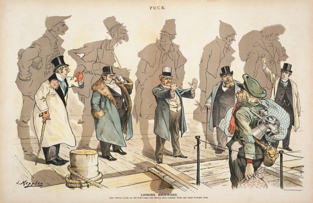 Looking Backward by Joseph Keppler. Puck, January 11, 1893