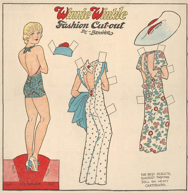 """Winnie Winkle Fashion Cut-out"" by Martin Branner. August 4, 1935."