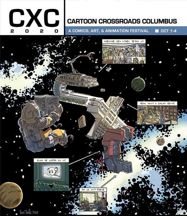 CXC, Cartoon Crossroads Columbus 2020 poster by Ben Towle, comics festivals